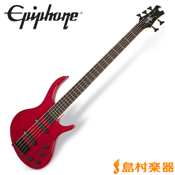 Epiphone Toby Deluxe V Trans Red 5弦ベース 【エピフォン】