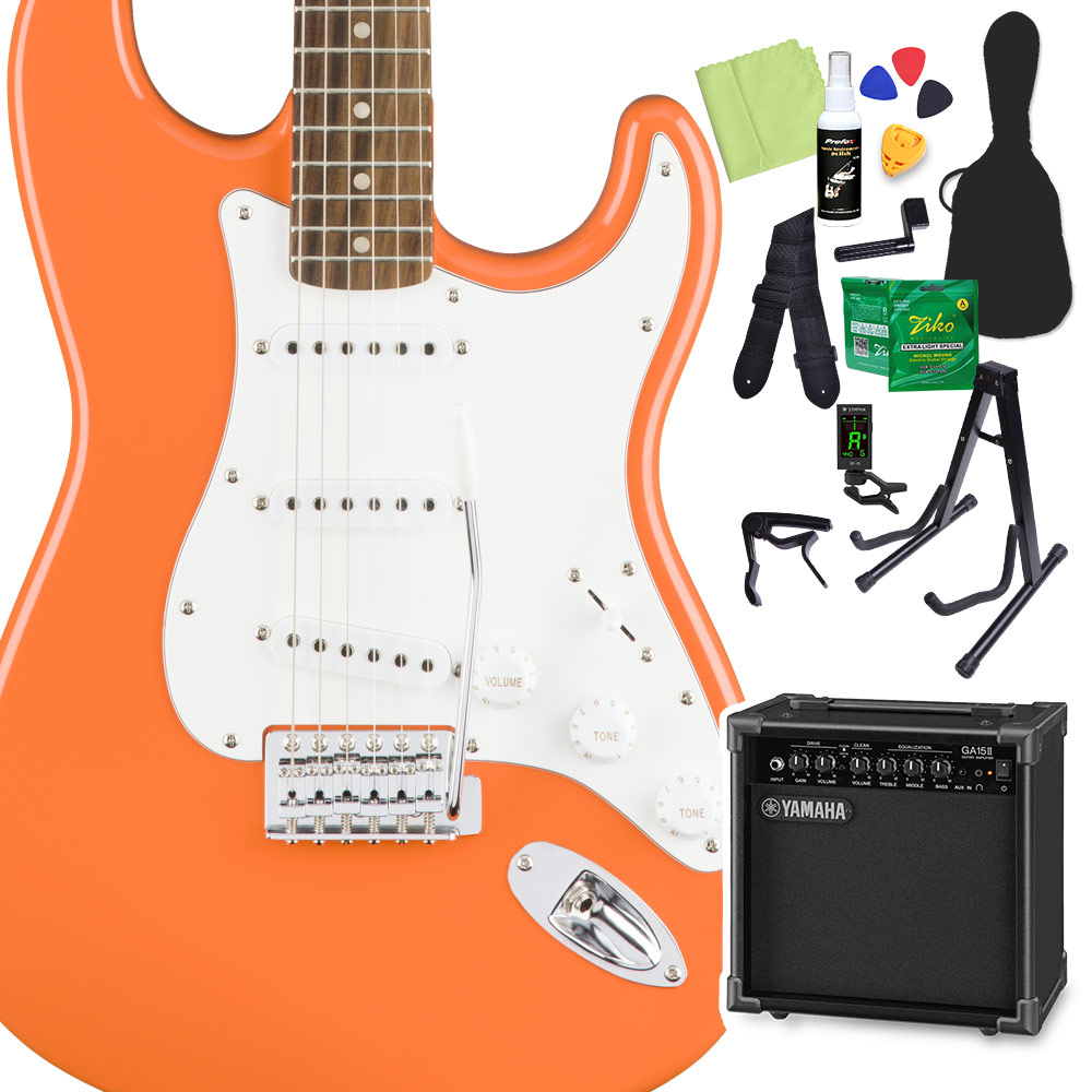 Squier by Fender Affinity Series Stratocaster Laurel Fingerboard Competition Orange エレキギター 初心者14点セット 【ヤマハアンプ付き】 ストラトキャスター 【スクワイヤー / スクワイア】【オンラインストア限定】