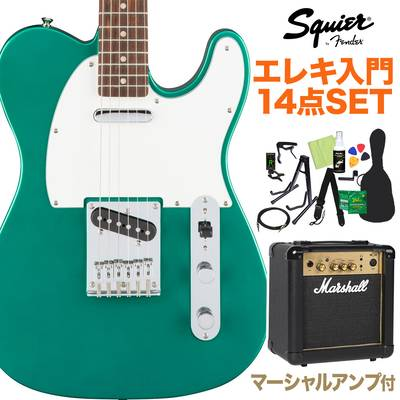 Squier by Fender Affinity Series Telecaster Laurel Fingerboard Race Green エレキギター 初心者14点セット 【マーシャルアンプ付き】 テレキャスター 【スクワイヤー / スクワイア】【オンラインストア限定】