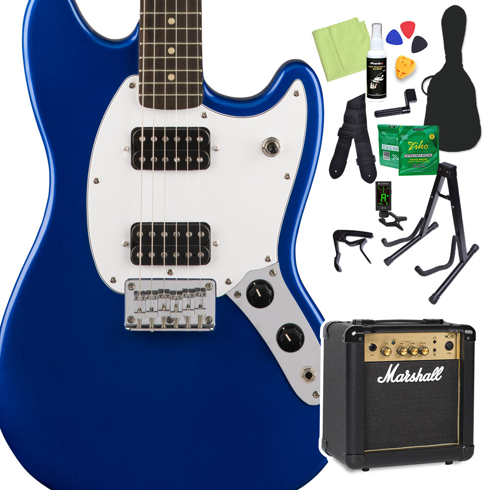 Squier by Fender Bullet Mustang HH Laurel Fingerboard Imperial Blue エレキギター 初心者14点セット 【マーシャルアンプ付き】 ムスタング 【スクワイヤー / スクワイア】【オンラインストア限定】