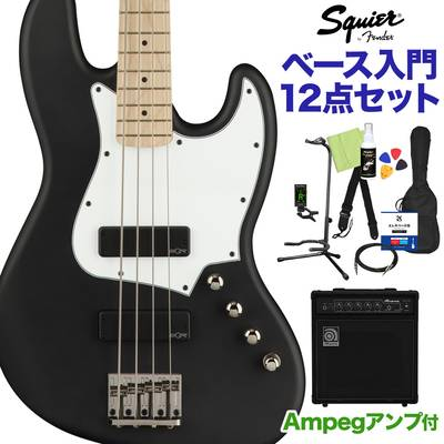 Squier by Fender Contemporary Active Jazz Bass HH Maple Fingerboard Flat Black ベース 初心者12点セット 【ampegアンプ付】 ジャズベース 【スクワイヤー / スクワイア】