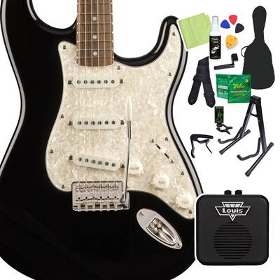 Squier by Fender Classic Vibe '70s Stratocaster, Laurel Fingerboard, Black 初心者14点セット 【ミニアンプ付き】 エレキギター ストラトキャスター 【スクワイヤー / スクワイア】【オンラインストア限定】