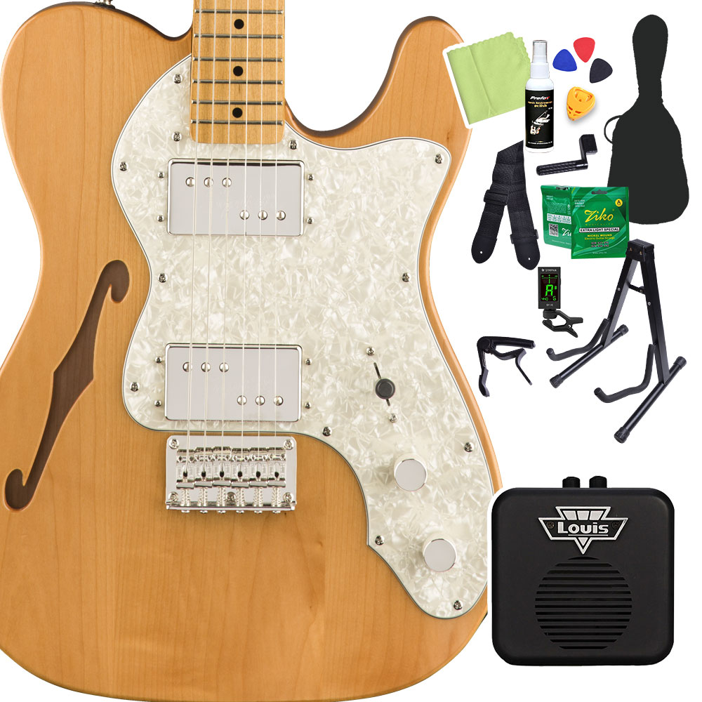 Squier by Fender Classic Vibe '70s Telecaster Thinline, Maple Fingerboard, Natural 初心者14点セット 【ミニアンプ付き】 エレキギター テレキャスター 【スクワイヤー / スクワイア】【オンラインストア限定】