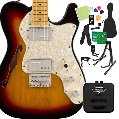 Squier by Fender Classic Vibe '70s Telecaster Thinline, Maple Fingerboard, 3-Color Sunburst 初心者14点セット 【ミニアンプ付き】 エレキギター テレキャスター 【スクワイヤー / スクワイア】【オンラインストア限定】