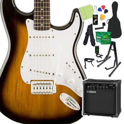 Squier by Fender Bullet Strat with Tremolo, Laurel Fingerboard, Brown Sunburst 初心者14点セット 【ヤマハアンプ付き】 エレキギター ストラトキャスター 【スクワイヤー / スクワイア】【オンラインストア限定】