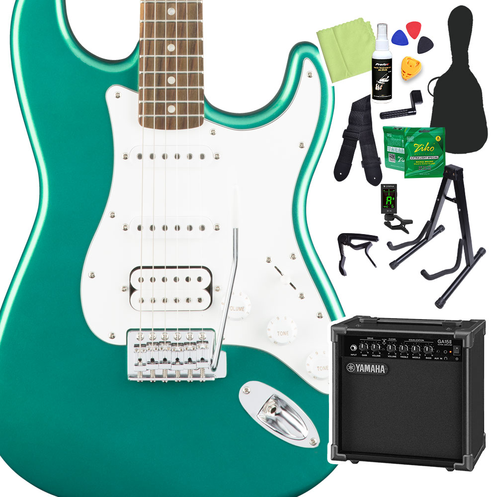Squier by Fender Affinity Series Stratocaster HSS, Laurel Fingerboard, Race Green 初心者14点セット 【ヤマハアンプ付き】 エレキギター ストラトキャスター 【スクワイヤー / スクワイア】【オンラインストア限定】