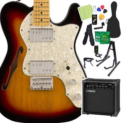 Squier by Fender Classic Vibe '70s Telecaster Thinline, Maple Fingerboard, 3-Color Sunburst 初心者14点セット 【ヤマハアンプ付き】 エレキギター テレキャスター 【スクワイヤー / スクワイア】【オンラインストア限定】