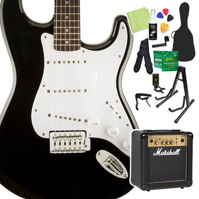 Squier by Fender Bullet Strat with Tremolo Laurel Fingerboard Black 初心者14点セット 【マーシャルアンプ付き】 エレキギター ストラトキャスター 【スクワイヤー / スクワイア】【オンラインストア限定】
