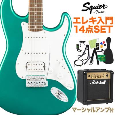 Squier by Fender Affinity Series Stratocaster HSS, Laurel Fingerboard, Race Green 初心者14点セット 【マーシャルアンプ付き】 エレキギター ストラトキャスター 【スクワイヤー / スクワイア】【オンラインストア限定】
