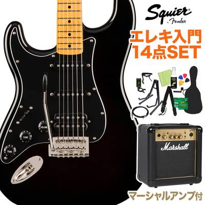 Squier by Fender Classic Vibe '70s Stratocaster HSS Left-Handed, Maple Fingerboard, Black 初心者14点セット 【マーシャルアンプ付き】 エレキギター ストラトキャスター レフトハンド 【スクワイヤー / スクワイア】【オンラインストア限定】