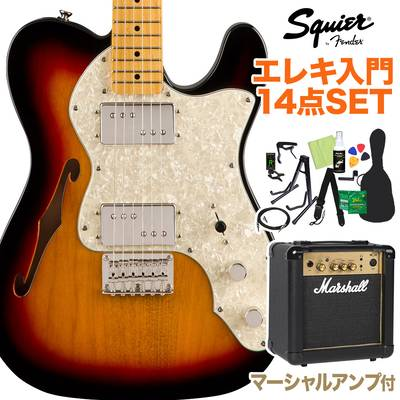 Squier by Fender Classic Vibe '70s Telecaster Thinline, Maple Fingerboard, 3-Color Sunburst 初心者14点セット 【マーシャルアンプ付き】 エレキギター テレキャスター 【スクワイヤー / スクワイア】【オンラインストア限定】