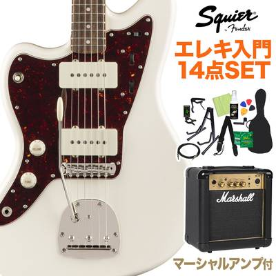 Squier by Fender Classic Vibe '60s Jazzmaster Left-Handed, Laurel Fingerboard, Olympic White 初心者14点セット 【マーシャルアンプ付き】 エレキギター ジャズマスター レフトハンド 【スクワイヤー / スクワイア】【オンラインストア限定】