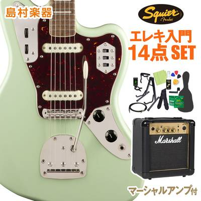 Squier by Fender Classic Vibe '70s Jaguar, Laurel Fingerboard, Surf Green 初心者14点セット 【マーシャルアンプ付き】 エレキギター ジャガー 【スクワイヤー / スクワイア】【オンラインストア限定】