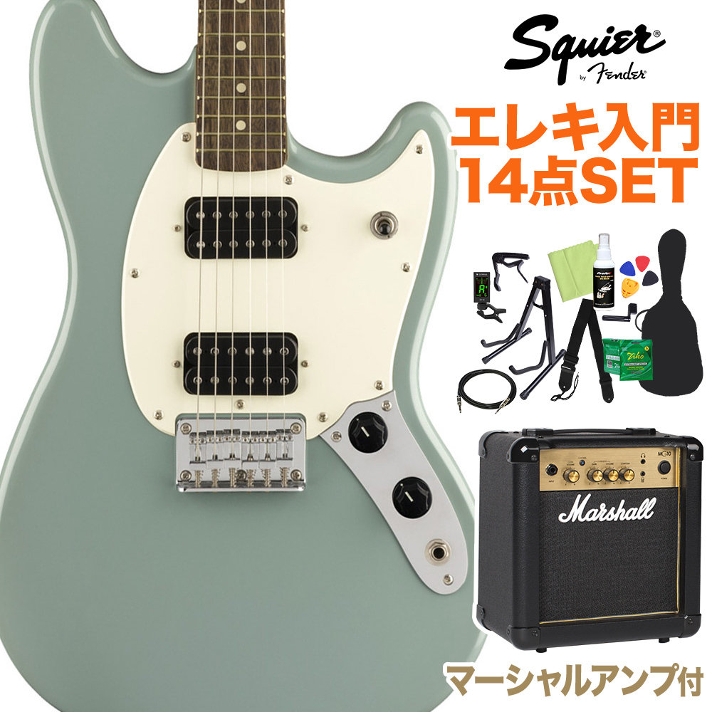 Squier by Fender Bullet Mustang HH Laurel Fingerboard Sonic Grey 初心者14点セット【マーシャルアンプ付】 【スクワイヤー / スクワイア】【オンラインストア限定】