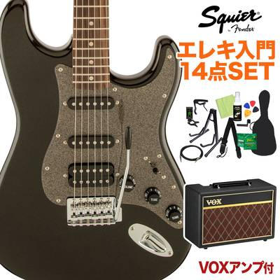 Squier by Fender Affinity Series Stratocaster HSS Laurel Fingerboard Montego Black Metallic エレキギター 初心者14点セット 【VOXアンプ付き】 【スクワイヤー / スクワイア】