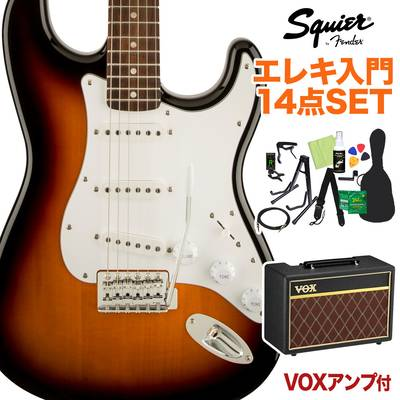 Squier by Fender Affinity Series Stratocaster Laurel Fingerboard Brown Sunburst エレキギター 初心者14点セット 【VOXアンプ付き】 ストラトキャスター 【スクワイヤー / スクワイア】