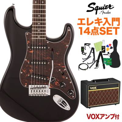 Squier by Fender FSR Affinity Series Stratocaster Laurel Fingerboard Black with Tortoiseshell Pickguard エレキギター初心者14点セット 【VOXアンプ付き】 ストラトキャスター 【スクワイヤー / スクワイア】