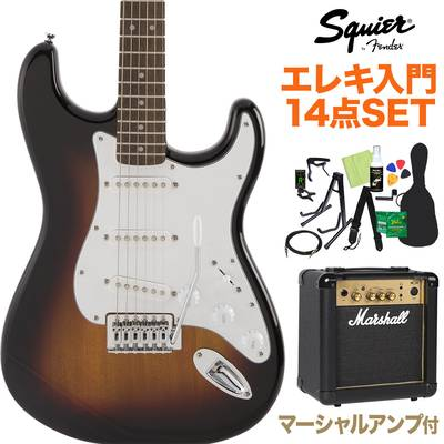 Squier by Fender FSR Affinity Series Stratocaster Laurel Fingerboard 3-Color Sunburst エレキギター 初心者14点セット【マーシャルアンプ付き】 ストラトキャスター【数量限定】 【スクワイヤー / スクワイア】